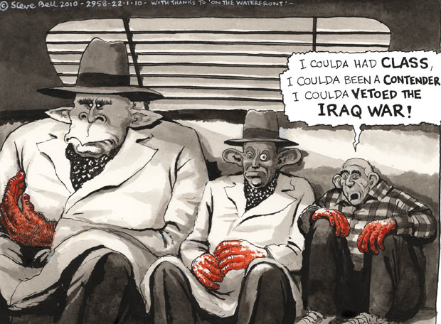Steve Bell reflects on George W Bush and Tony Blair's decision to go to war in Iraq
