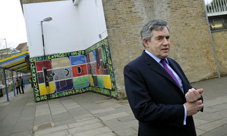 Gordon Brown visiting Stevenage on 21 January 2009.