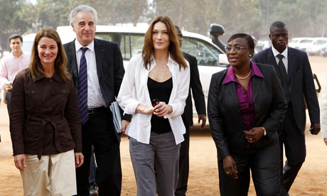Global Fund Ambassador Carla Bruni-Sarkozy with Melinda Gates in Benin.