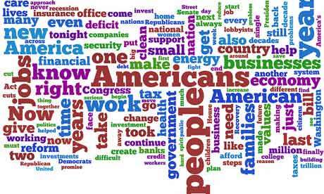 The words used most frequently by Barack Obama in his state of the union address