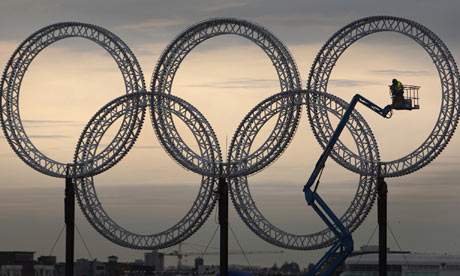 Winter Olympic rings in Vancouver harbour