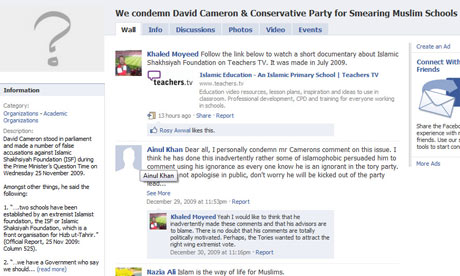Facebook group We condemn David Cameron and Conservative party for smearing Muslim schools.