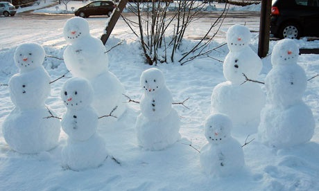 the Guardian's Martin Wainwright creates a family of snowmen in the style of Barbara Hepworth