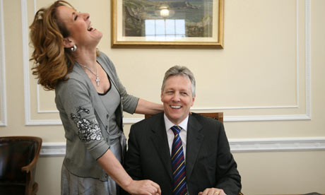 Peter Robinson and his wife, Iris, in a 2008 photograph at the Stormont assembly