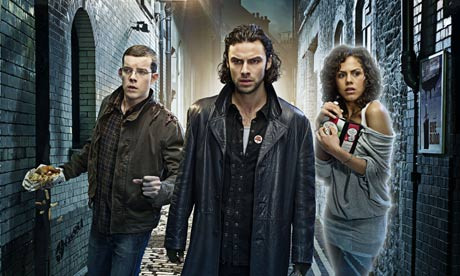 BEING HUMAN stars (l-r) Russell Tovey, Aidan Turner and Lenora ...