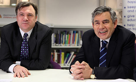 Gordon Brown and Ed Balls on a school visit
