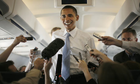 U.S. Democratic presidential nominee Senator Obama speaks to the media on his way to Dulles