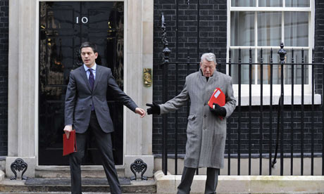 David Miliband and Alan Johnson outside No 10 Downing Street