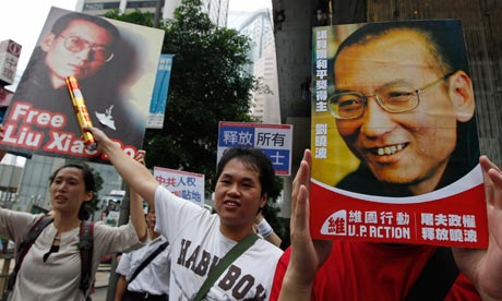 protesers with picture of liu xiaobo