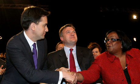 Ed Miliband and Diane Abbott after Ed is pronounced leader