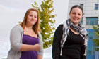 Lauren Harris and Kimberly Barber of Highbury College in Portsmouth.