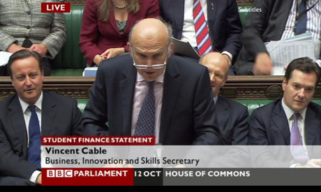 Vince Cable addresses the Commons, accompanied by David Cameron, David Willetts and George Osborne.