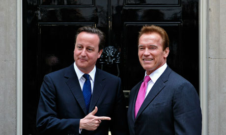 David Cameron and Arnold Schwarzenegger at No 10 on 14 October 2010.