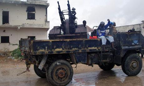 Islamic gunmen patrol in Mogadishu, Somalia