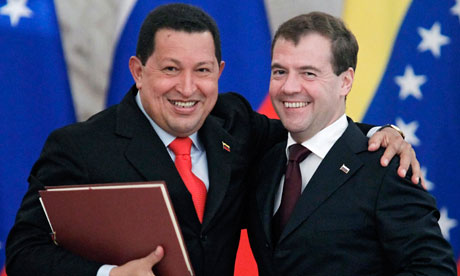 Hugo Chavez and Dmitry Medvedev after a signing ceremony in Moscow