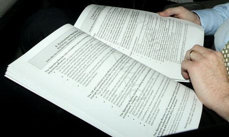 Danny Alexander photographed reading a draft copy of comprehensive spending review 19 October 2010