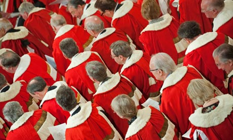 Peers wait for the Queen to address the House of Lords