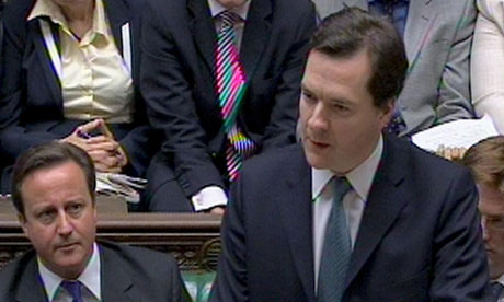 George Osborne delivers comprehensive spending review on 20 October 2010, watched by David Cameron.