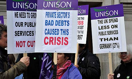 Union members protesting in Westminster