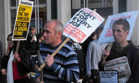 Guardian Cardiff Blog - cut protesters at in Cardiff city centre on day of the comprehensive spending review