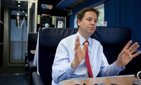 Nick Clegg travels by train from Nottingham to London