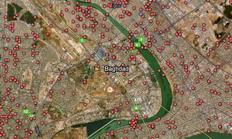 Map Of Iraq War. Iraq war logs deaths mapped