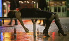 Drunk woman on bench