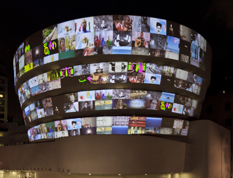 YouTube Play projection on the Guggenheim Museum
