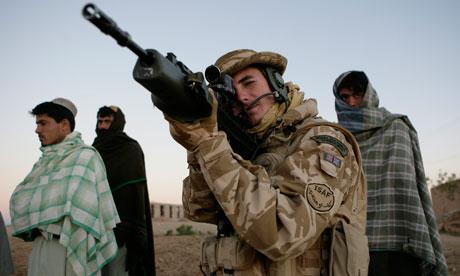 British marine on patrol in Lashkar Gah