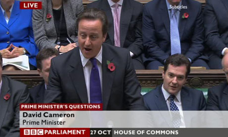 David Cameron at prime minister's questions on 27 October 2010. George Osborne is next to him.
