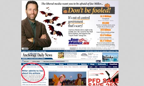 Joe Miller's advert on the Anchorage Daily News website
