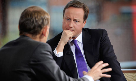 Prime minister David Cameron  is interviewed by Andrew Marr