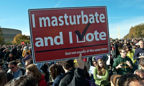 'I masturbate and I vote' sign