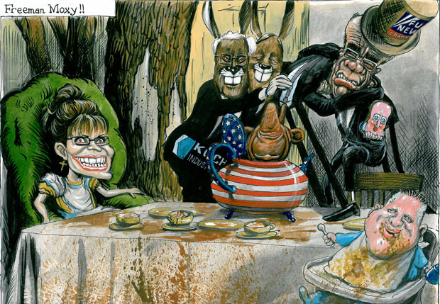 Freeman Moxy !! Martin Rowson on a Tea Party at the US midterms