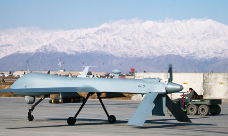 A US Predator unmanned drone sits primed at  Bagram air base, Afghanistan