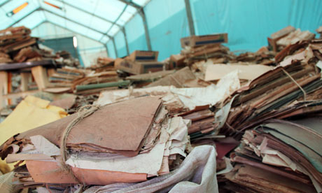 The archives of southern Sudan are stored in a tent. Photograph: Maggie Fick