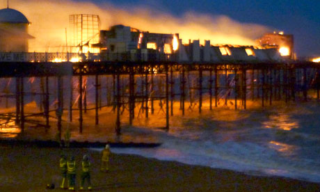 Hastings pier in flames