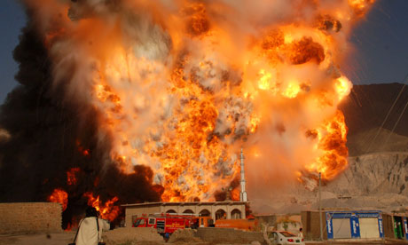 Fuel tankers explode after they were attacked in the outskirts of Quetta.