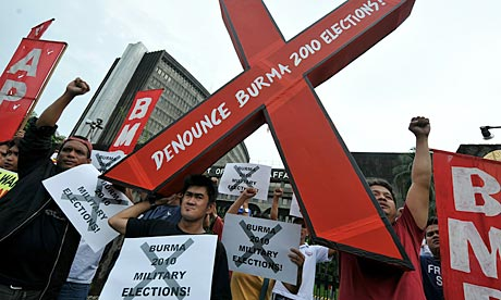 Free Burma Coalition stages a protest against the 7 November Burmese national elections in Manila