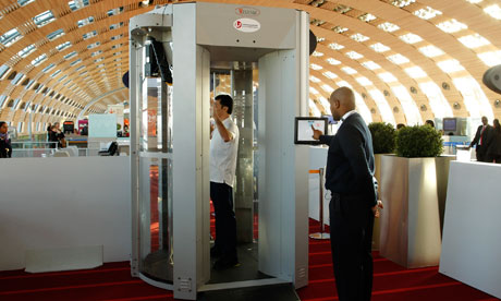 Despite EU Ban, UK Makes Radiation Firing Body Scanners Compulsory A full body scanner trial 006