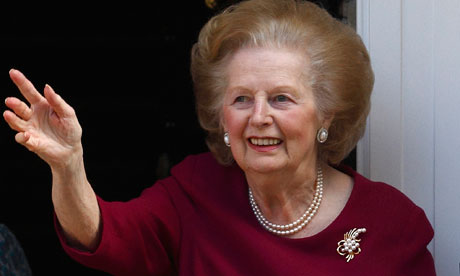 Margaret Thatcher after returning home from hospital