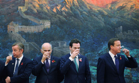 Michael Gove, Vince Cable, George Osborne and David Cameron in Beijing.
