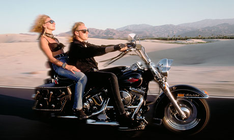 Riding a Harley Davidson in the Californian desert