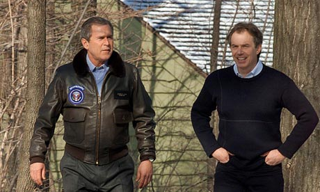 Flashback President George Bush with U.K. Prime Minister Tony Blair wearing Bomber Jacket Prop, now in 2010 President Obama dusts off the Bomber Jacket Prop in Afghanistan.