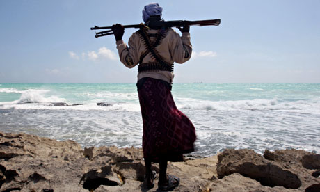 An armed Somali pirate.