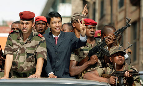 Madagascar's sitting president, Andry Rajoelina, in 2009 after seizing power (Photo Courtsey of The Guardian)