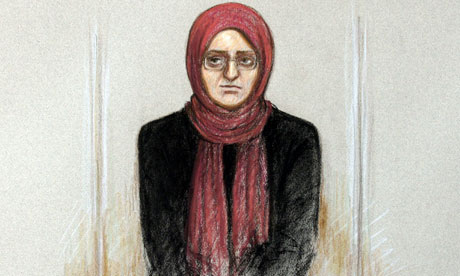 Artwork of Roshonara Choudhry, sitting in the dock at Old Bailey trial