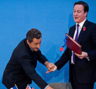 Nicolas Sarkozy and David Cameron joke after signing the Anglo-French defence treaty 2 November 2010