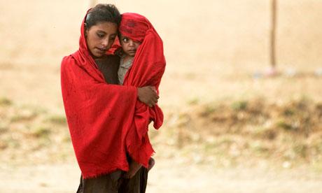Internally displaced children at a UN refugee camp in Pakistan