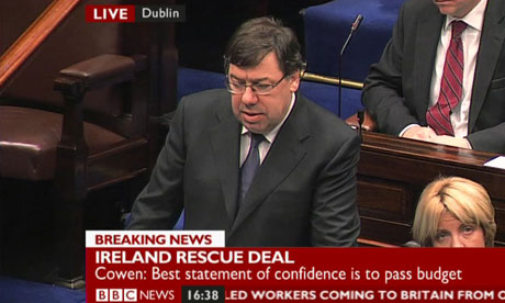 Brian Cowen in the Dail on 22 November 2010.